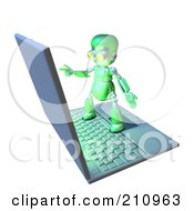 3d Green Robot Character Standing On A Giant Laptop