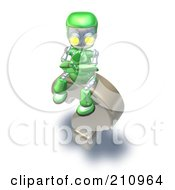 Royalty Free RF Clipart Illustration Of A 3d Green Robot Character Pondering On Top Of A Question Mark by AtStockIllustration