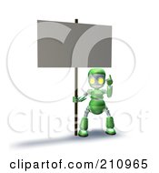 3d Green Robot Character Pointing Up And Holding A Blank Sign