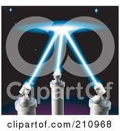 Royalty Free RF Clipart Illustration Of Spot Lights Shining Up Into The Starry Night Sky
