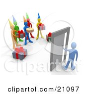 Clipart Illustration Of A Surprise Birthday Party With Gifts And Cake Waiting For The Birthday Person To Open The Door by 3poD