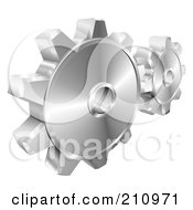 Royalty Free RF Clipart Illustration Of A Couple Of 3d Shiny Metallic Gear Cog Wheels