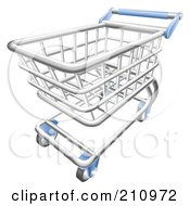 Royalty Free RF Clipart Illustration Of A 3d Chrome Trolly Shopping Cart With A Blue Handle