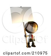 3d Business Man Character Mascot Standing Holding A Sign Placard On A Pole