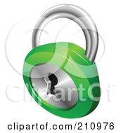 3d Chrome And Green Key Padlock