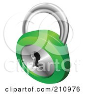 Royalty Free RF Clipart Illustration Of A 3d Chrome And Green Key Padlock by AtStockIllustration