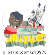 Royalty Free RF Clipart Illustration Of 3d German Tourist Attractions Over A Flag Map Of Germany