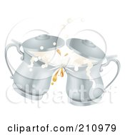 Royalty Free RF Clipart Illustration Of Two 3d Silver Oktoberfest Metal Ale Beer Mug Tankards Toasting