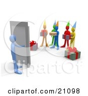 Blue Person Turning A Handle Unaware Of A Surprise Birthday Party On The Other Side