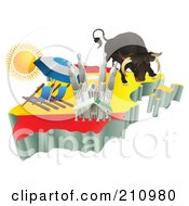 Royalty Free RF Clipart Illustration Of 3d Spanish Tourist Attractions Over A Flag Map Of Spain