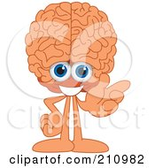 Brain Guy Character Mascot Gesturing Right