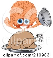 Brain Guy Character Mascot Serving A Thanksgiving Turkey