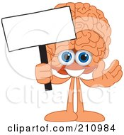 Brain Guy Character Mascot Holding A Blank Sign
