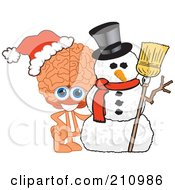 Royalty Free RF Clipart Illustration Of A Brain Guy Character Mascot With A Christmas Snowman by Toons4Biz