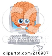 Brain Guy Character Mascot In A Computer Screen