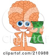 Brain Guy Character Mascot Holding Cash