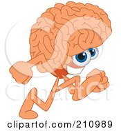 Royalty Free RF Clipart Illustration Of A Brain Guy Character Mascot Running by Toons4Biz