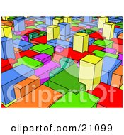 Colorful Background Of Blue Yellow Green Red Orange And Pink Blocks Connected