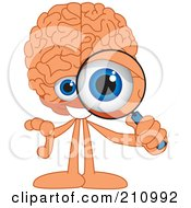Brain Guy Character Mascot Looking Through A Magnifying Glass