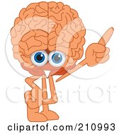 Brain Guy Character Mascot Pointing Up