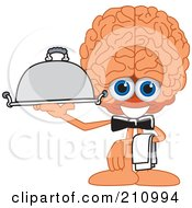 Brain Guy Character Mascot Waiter Serving