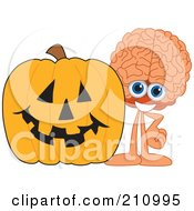 Royalty Free RF Clipart Illustration Of A Brain Guy Character Mascot With A Halloween Pumpkin by Toons4Biz