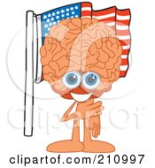 Brain Guy Character Mascot Pledging Allegiance To An American Flag