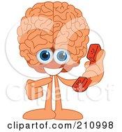 Brain Guy Character Mascot Holding A Phone