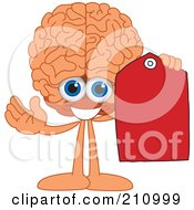 Royalty Free RF Clipart Illustration Of A Brain Guy Character Holding A Blank Red Tag by Toons4Biz