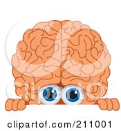 Royalty Free RF Clipart Illustration Of A Brain Guy Character Mascot Looking Over A Blank Sign