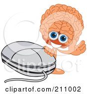 Royalty Free RF Clipart Illustration Of A Brain Guy Character Mascot Waving By A Computer Mouse