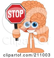 Brain Guy Character Mascot Holding A Stop Sign