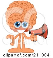 Royalty Free RF Clipart Illustration Of A Brain Guy Character Mascot Holding A Megaphone by Toons4Biz