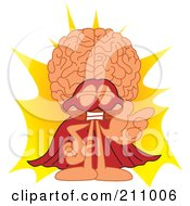 Royalty Free RF Clipart Illustration Of A Brain Guy Character Mascot Super Hero