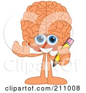 Brain Guy Character Mascot Holding A Pencil