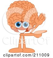 Brain Guy Character Mascot Waving And Pointing