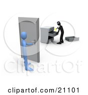 Clipart Illustration Of A Blue Person About To Open A Door To A Room Where A Robber Is Going Through Drawers by 3poD