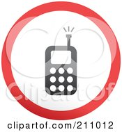 Royalty Free RF Clipart Illustration Of A Red Gray And White Rounded Cell Phone Button by Prawny