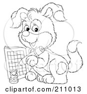 Royalty Free RF Clipart Illustration Of A Coloring Page Outline Of A Cute Puppy Using An Activity Book by Alex Bannykh