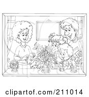 Royalty Free RF Clipart Illustration Of A Coloring Page Outline Of A Happy Family Watering Plants In A Window by Alex Bannykh