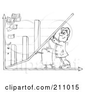 Royalty Free RF Clipart Illustration Of A Coloring Page Outline Of A Businessman And Paper Pushing Up A Bar Graph by Alex Bannykh
