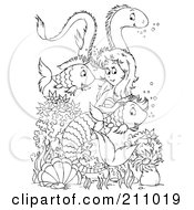 Royalty Free RF Clipart Illustration Of A Coloring Page Outline Of A Mermaid Swimming With An Eel And Fish by Alex Bannykh
