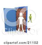 Green Person Walking Away After Barging Through A Brick Wall In An Open Door
