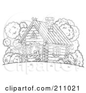 Royalty Free RF Clipart Illustration Of A Coloring Page Outline Of A Chicken Atop A Log Cabin
