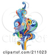 Colorful Swirly Wave Background Over White 8
