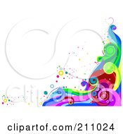 Colorful Swirly Wave Background Over White 2