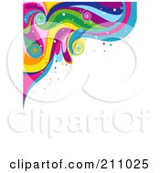 Colorful Swirly Wave Background Over White 7