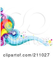 Colorful Swirly Wave Background Over White 4
