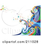 Colorful Swirly Wave Background Over White 3