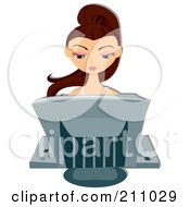 Royalty Free RF Clipart Illustration Of A Brunette Woman Sitting Behind A Computer